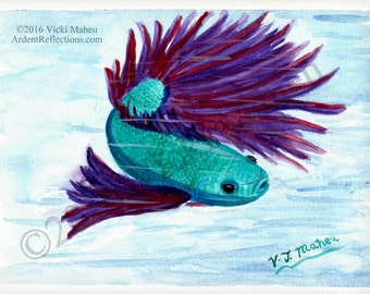 Betta fish painting, Betta fish watercolor, Siamese fighting fish, watercolor painting, original painting, turquoise blue, purple,Item #BFO1
