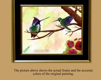 Framed Watercolor, Hummingbird Painting, hummingbird art, 8x10 hummingbird, impressionist, 8 x 10 painting, original painting,  Item #CHO1