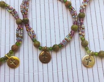 Multistrand Beaded Cross Elastic Bracelet