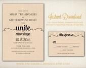DIY Printable Wedding Invitation Template, Easy DIY Printable, Microsoft Word Invitation, Instant Download, Script Calligraphy (ID8)