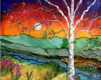Alcohol Ink Print - 5x7, 8x10, 11x14.- Alcohol Inks - Sunset Birch tree with mountains