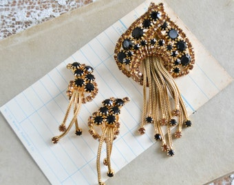 Vintage Gold and Black Brooch and Earrings Jellyfish Unique Rhinestone