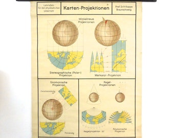 Earth Map Projection Pull Down Chart -  Astronomy Physics School Chart - Planet Earth Map 1950s