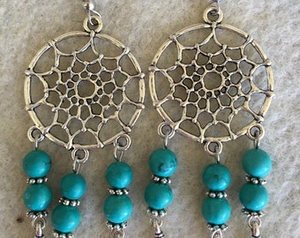 Dream Catcher Magnesite Turquoise Earring