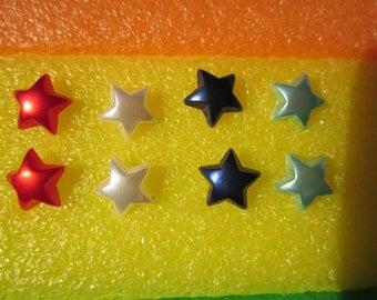 Lot of 4 pairs of handmade earrings- SATIN PEARLIZED finish STAR shape small stud earrings