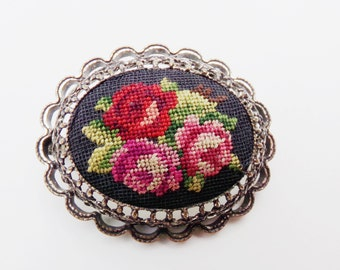 Vintage Tapestry Pin, Red Pink Rose Silver Filigree Pin, Petit Point, Victorian Pin, Brocade, Needlepoint Jewelry,  Flower Floral Pin Brooch