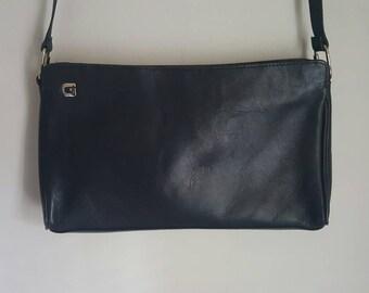 Ganson  Black Leather Shoulder Clutch Bag