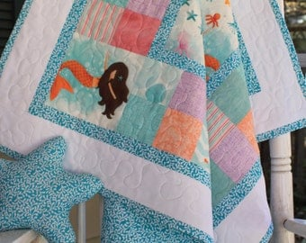 Turquoise Mermaid Baby Girl Quilt with Stuffed Starfish Toy // Baby Gift // Gifts for Babies