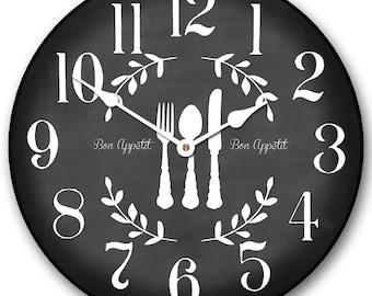 Bon Appetit Black Wall Clock