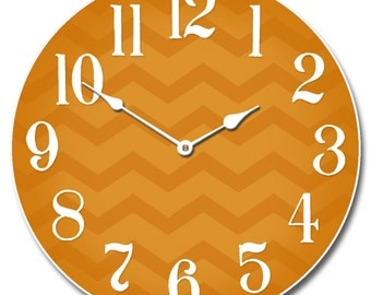 Chevron Orange Wall Clock
