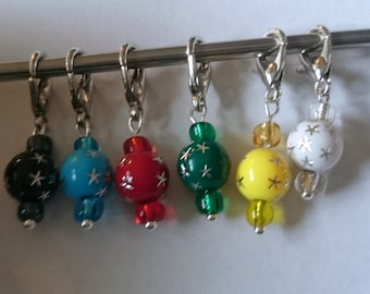 6 Beaded Stitch Markers for Crochet