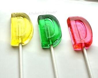 Letter D Cake Topper, Birthday Cake Topper, Wedding Cake Topper, Birthday Party Favors, Bridal Shower Favors, 12 Letter D Lollipops