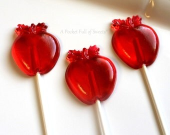 10 Candy Apple Favors, Snow White Birthday, Snow White Party, Very Hungry Caterpillar Party Favors, Cake Topper, Red Apple, Lollipop Favors
