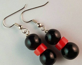 Black Bead Earrings with Red Coral Accents
