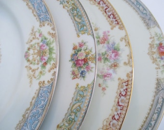 Vintage Mismatched China Dinner Plates for Dinner Parties,Weddings,Bridal Luncheon,Showers,Hostess Gift,Bridesmaid Gift-Set of 4