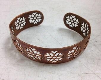Vintage Copper Cuff Bracelet Floral Filigree