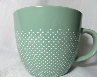 Pale Sea Foam Green Mug with Dotted White Pattern