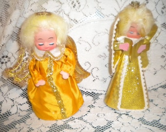 Pair Vintage Paper and Foil Christmas ANGELS..Cloth..Cardboard Dress..Wings