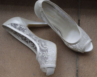 Wedding shoes, Bridal shoes, Handmade LACE wedding shoes   #4341