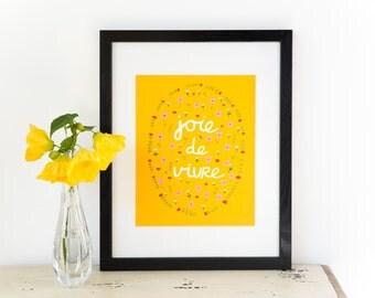 Printable Art - Joie de Vivre in Mustard Yellow - Instant Download