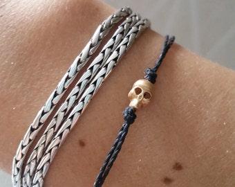 Tiny Skull cord bracelet, unisex bracelet with a GOLD plated Tiny Skull , bracelet for me