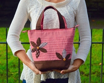 Insulated Lunch Bag/ Lunch Bag with Adjustable Bottle Holder/ Handmade Lunch Bag/Lunch bag for Women