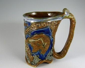 Bear Eagle Yosemite Mug, Carved stoneware Hand-built Mug (#28)