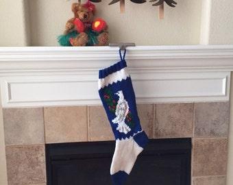 Hand Knit Dove Christmas Stocking