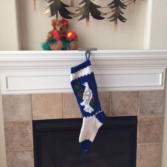 Hand Knit Dove Christmas Stocking
