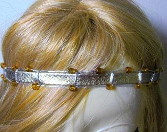 Leather Headband Boho Hairband Silver Braided Hippie Headband Hippie Chic Yoga Headband Hair Wrap