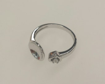 1 PC, Ring, White Gold Vermeil CZ Ring Base, Sterling Silver Ring Base, Adjustable Ring, For Pearl & Gemstone Gluing, DIY Jewelry Supplies