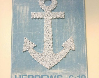 Blue and White Anchor Hebrews 6:19 Scripture String Art, Gift