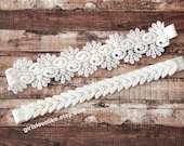 Ivory Soft Lace Wedding Garter Set, Venice Lace Garter Set, Wedding Garter Set, Bridal Ivory Garter