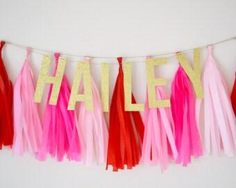 Name Glitter Tassel Banner - One Stylish Party