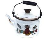 Georges Briard Tea Pot-Enamel-Ambrosia Pattern-Mid Century-Pineapple-Handled-Vintage Kitchen-Signed-White Teapot-Kettle-Gold Trim