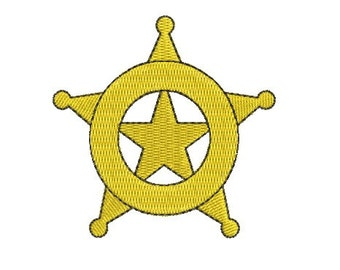 police star badge embroidery design