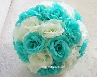 "Aqua Pool Blue Ivory Kissing Ball Silk Rose Flower Balls Pomander 10"" For Wedding Centerpieces Decor Bridal Shower"