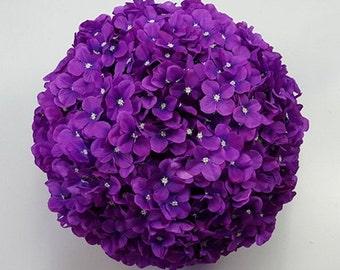 "7"" Silk Hydrangea Kissing Balls Set Of 6 Silk Flower Pomanders Various Colors For Wedding Centerpieces Decor Bridal Shower Flower Girls"