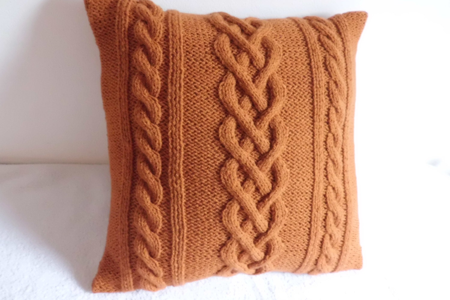 Knitting Pillows : Burned orange cable knit pillow case throw knitted