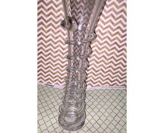 Tall Swirled Outside Glass Vase