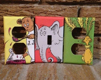 Dr. Seuss Light Switch Cover and Electrical Outlet Covers, Horton, Fiffer Feffer Feff, and Jerry Jordon, Nursery, Baby Shower, Gift
