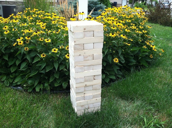 Giant Jenga Block Game by Tumbling Timbers - Wood Storage Crate Optional - FEATURED in Better Homes & Gardens - Do It Yourself Magazine 2015