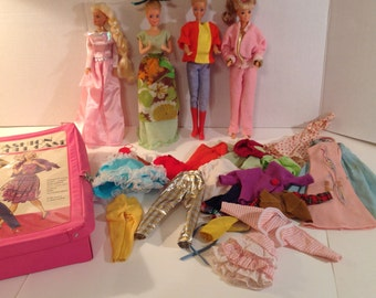 Doll Suitcase with 4 Older Barbie Dolls and 30+ Clothes