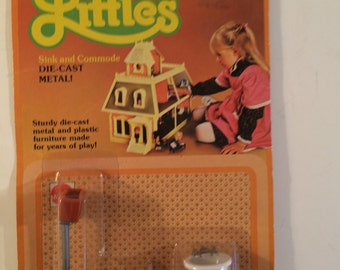 Dollhouse Bathroom Furniture by Mattel Metal New Unopened on Card 1980 The Littles