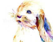 ON SALE Rabbit Watercolor Painting Print, Print of Rabbit, Bunny Painting, Baby Animal Painting, Nursery Art, Nursery Watercolor, Print of P