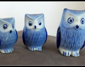 Vintage Set of Blue and White Owls