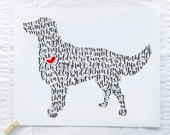 Golden Retriever Illustration Print