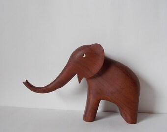 Vintage Danish Teak Elephant Statue Modern Wooden Scandinavian Animal Sculpture