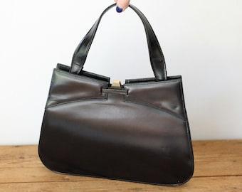 DOFAN Black Leather Vintage Handbag / Slim Leather Retro Purse / Made in France