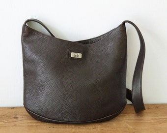 Vintage THE SAK Brown Pebble Leather Hobo Shoulder Bag / Dark Brown Leather Hobo Handbag / Leather Purse 072814
